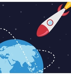 planet and rocket vector image vector image