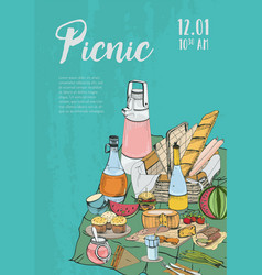 poster banner placard to picnic with place for vector image