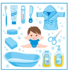 Set of children things for bathing vector image