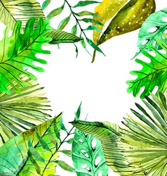 Watercolor Floral background with Tropical leaves vector image vector image