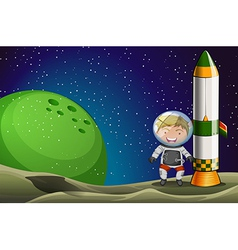 A man in the space standing beside the rocket vector image