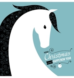 Christmas and Happy new year card for Horse year vector image