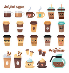 cute coffee icons set on a white background vector image