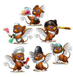 griffins in six different characters vector image vector image