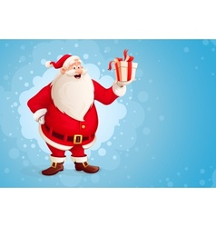 Merry Santa Claus holds vector image vector image
