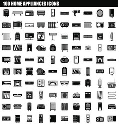 100 home appliances icon set simple style vector image