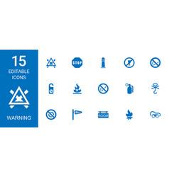 15 warning icons vector image