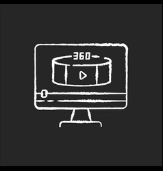 360 degree view video chalk white icon on black vector