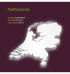 3d map of Netherlands vector