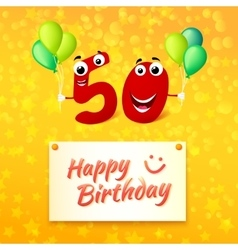 50 years Happy Birthday colorful greeting card vector