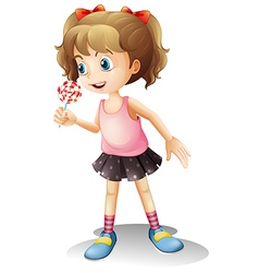 A child holing a lollipop candy vector image