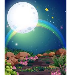 A rainbow during nighttime vector