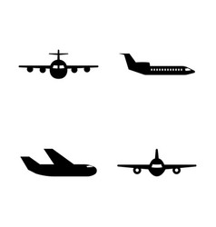 aircraft simple related icons vector image