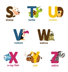 Alphabet animals from S to Z vector