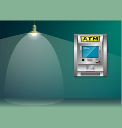 atm - automated teller machine blue and green vector image