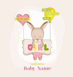 Baby girl kangaroo with balloons - baby shower vector