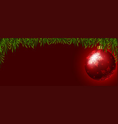 background template with red christmas ball vector image