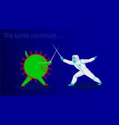 Battle virus covid-19 and paramedic vector