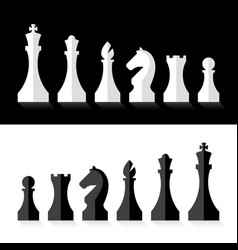 Black and white chess pieces flat design style vector
