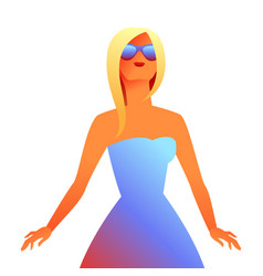 blonde girl in sunglasses vector image