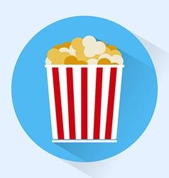 Bucket of popcorn colorful round icon vector
