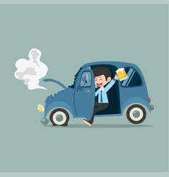 Businessman with car accident drunk driver vector
