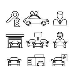 Car dealerships purchase and sale of cars line vector image