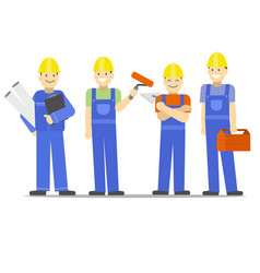 cartoon characters construction worker group set vector image
