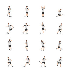 cartoon characters soccer player set vector image