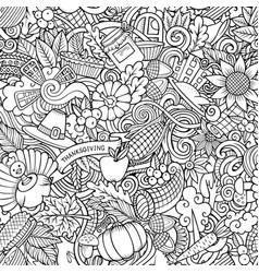 Cartoon cute doodles hand drawn happy thanksgiving vector