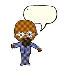 Cartoon genius scientist with speech bubble vector