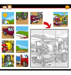 cartoon vehicles jigsaw puzzle game vector image