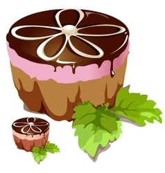 Chocolate cake with pink layer vector image