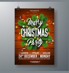 Christmas party flyer with pine vector