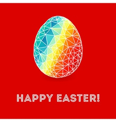 Colorful Easter egg on bright red background vector image