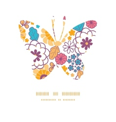 colorful oriental flowers butterfly vector image