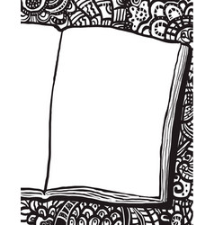 coloring page with notebook and doodle bg vector image