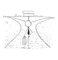 conceptual cartoon of business man on crossroad vector image