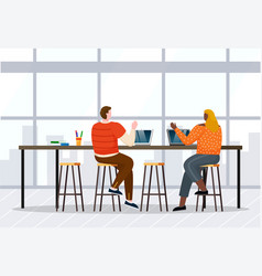 coworkers work on laptops in open space at office vector image