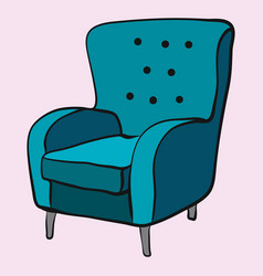 Cozy emerald armchair is waiting for sitting vector