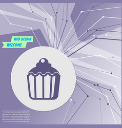 cupcake muffin icon on purple abstract modern vector image