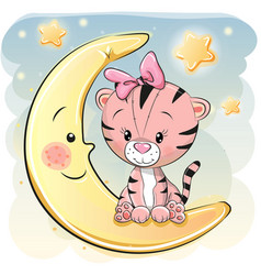 Cute cartoon tiger on the moon vector