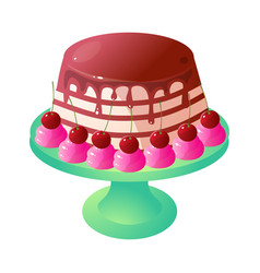 Cute chocolate creamy cake with red cherry on vector