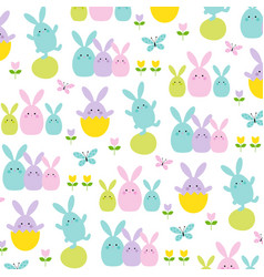 cute easter bunnies tulips and butterflies vector image