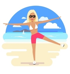 Cute girl in a bikini and pareo on the beach vector image