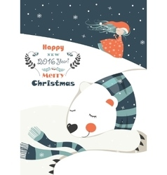 Cute girl with sleeping polar bear vector image