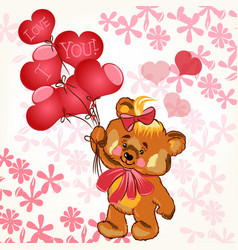 cute valentines card with smile bear and balloons vector image