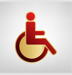 Disabled sign red icon on vector