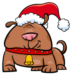 dog on christmas time cartoon vector image