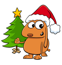 dog with christmas tree cartoon vector image